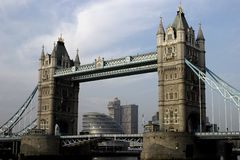 Tower Bridge. Is a bascule bridge in London, England over the River Thames. It is close to the Tower of London, which gives it its name Royalty Free Stock Image