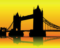 Tower Bridge. Silhouette Tower Bridge on an orange background Royalty Free Stock Images