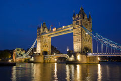Tower Bridge. From the North Bank at dusk, London, UK Stock Photos