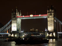 Tower bridge. The famous Tower bridge at night in Central London Royalty Free Stock Image