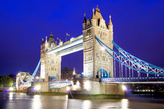 Tower Bridge. The iconic Tower Bridge of London lit up at night over the River Thames Stock Images