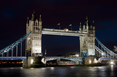 Tower Bridge. Night time long exposure of Tower Bridge over the river Thames in London Stock Image
