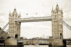 London Tower Bridge. Aged historical Tower bridge over the river Thames in London Stock Photos