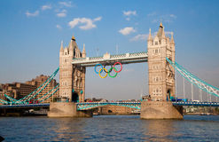 Tower Bridge. With Olympic Rings Royalty Free Stock Images