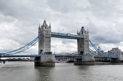 Tower bridge. In its river setting, looking east from Tower castle stock photos