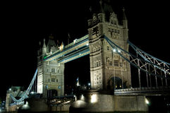 Tower Bridge. At night. Thames, London Stock Photos
