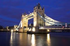 Tower Bridge. Night shot of Tower Bridge, London Stock Photo