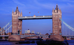 Tower Bridge across the river Thames. With Canary Wharf background Royalty Free Stock Image