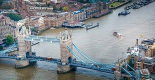 Tower Bridge aerial panoramic view, London - UK Stock Photography