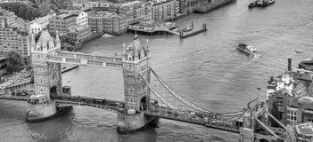 Tower Bridge aerial panoramic view, London - UK Stock Image