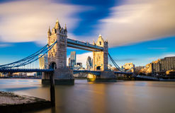 Tower Bridge Bascule bridge in London, England. Tower Bridge is a combined bascule and suspension bridge in London which crosses the River Thames. It is close to Royalty Free Stock Image