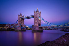 Tower Bridge Bascule bridge in London, England. Tower Bridge is a combined bascule and suspension bridge in London which crosses the River Thames. It is close to Royalty Free Stock Photo