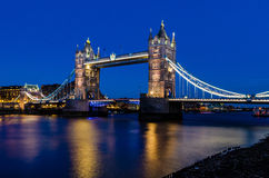 Tower Bridge Bascule bridge in London, England. Tower Bridge is a combined bascule and suspension bridge in London which crosses the River Thames. It is close to Stock Images