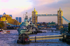 Tower Bridge and the Belfast - London Royalty Free Stock Photography