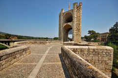 Tower on the bridge of Besalu. A tower on the medieval bridge in Besalu, Spain Stock Images