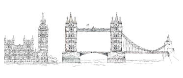 Tower bridge and Big Ben in London, sketch collection, Buckingham palace gate. Tower bridge and Big Ben. London, sketch collection Royalty Free Stock Images