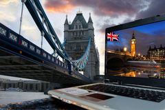 Tower Bridge with Big Ben, London,UK Stock Image