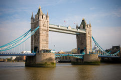 The Tower Bridge. Blue details of the Tower Bridge of London from the Thames river Stock Photo