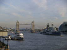 Tower Bridge with boat cruise Royalty Free Stock Image