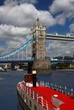 Tower Bridge with boat, London, UK Stock Photos