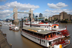 Tower Bridge with boat, London, UK. Tower Bridge with city steam boats in London, UK Stock Photo