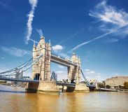 Tower Bridge on a bright sunny day in London, panorama Royalty Free Stock Photos