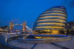 Tower Bridge and City Hall on Southwark Stock Photos
