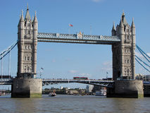 Tower Bridge with busy traffic on and under it Stock Photography