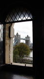 Tower Bridge from castle window in London Royalty Free Stock Image