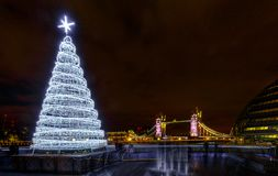 Tower Bridge and Christmas holiday lights, London, England Stock Photo