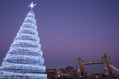 Tower Bridge and Christmas Tree Stock Image