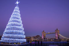 Tower Bridge Christmas Tree Stock Photo