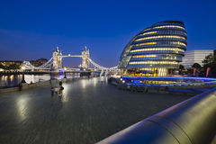 Tower Bridge and City Hall at night, editorial Stock Photos