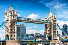 Tower Bridge with City of London on background. City skyline on Royalty Free Stock Images
