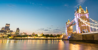 The Tower Bridge and City of London on a beautiful evening - UK Royalty Free Stock Images