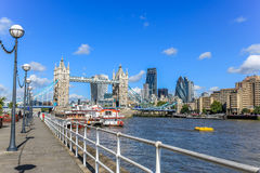 Tower Bridge and the City of London. London, United Kingdom: Tower bridge, the City of London skyline and the river Thames. Shows the skyscrapers the Shard, 122 Stock Photo