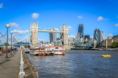 Tower Bridge and the City of London. London, United Kingdom: Tower bridge, the City of London skyline and the river Thames. Shows the skyscrapers the Shard, 122 Royalty Free Stock Photo