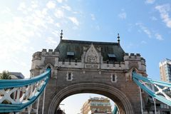 Tower Bridge - close-up on gates arch. Tower Bridge (built 1886–1894) is a combined bascule and suspension bridge in London. The bridge crosses the River Royalty Free Stock Images