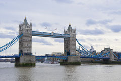 Tower bridge on a cloudy day Stock Images