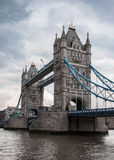 Tower Bridge on a cloudy day. Tower Bridge in London during a cloudy, dreary weather Royalty Free Stock Photos