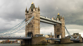 Tower bridge in a cloudy day. London, England Royalty Free Stock Images
