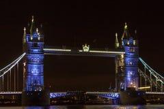 Tower Bridge, suspension bridge in London. Tower Bridge is a combined bascule and suspension bridge in London built between 1886 and 1894. The bridge crosses the Royalty Free Stock Photo