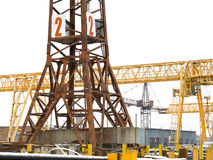 Tower and bridge cranes in metal product warehouse Stock Photography