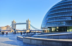 Tower Bridge crossing the River Thames from City Hall in London Royalty Free Stock Images