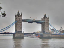 Tower bridge and dark cloudy sky Stock Photos