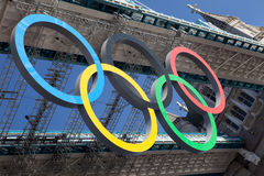 Tower bridge decorated with Olympic rings Stock Images
