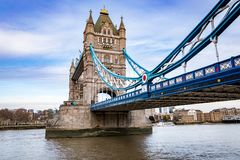 Tower Bridge, different perspective with sky. Tower Bridge, angled perspective with sky and river in shot Royalty Free Stock Photo