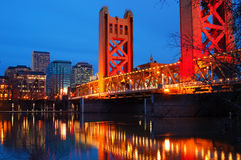 Tower Bridge and Downtown Sacramento Stock Photos