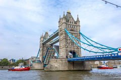Tower Bridge with draw bridge open Stock Photography
