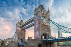 The Tower Bridge at dusk as seen from St. Katharine Docks - Lond Royalty Free Stock Photos